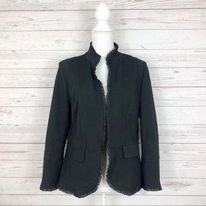 Chico's Black Open Ruffle Trim Blazer Jacket